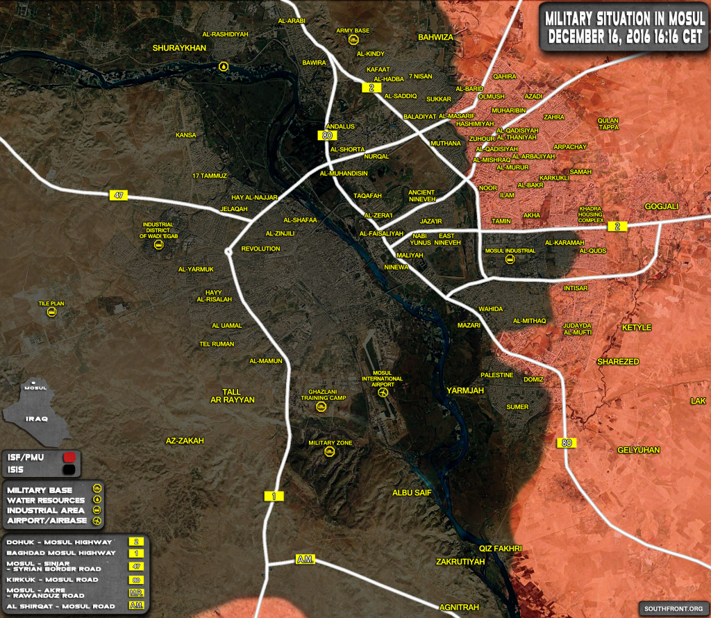 Military Situation In Mosul City On December 16, 2016 (Iraqi Map Update)