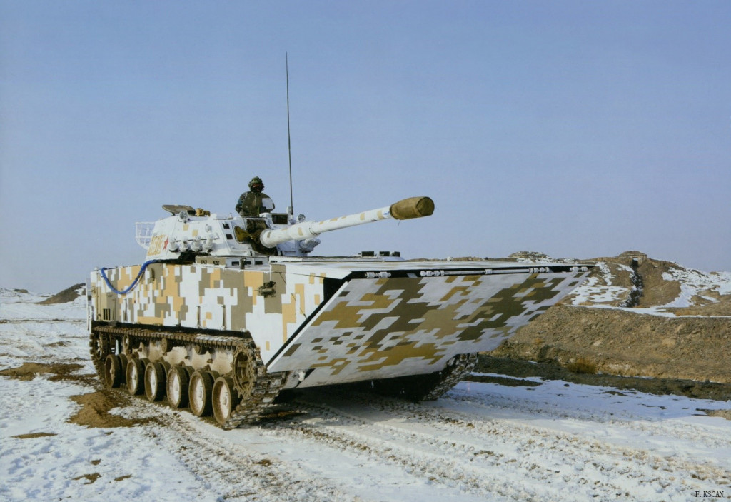 Chinese ZLT05 Amphibious Assault Vehicle on training maneuvers in winter weather conditions.
