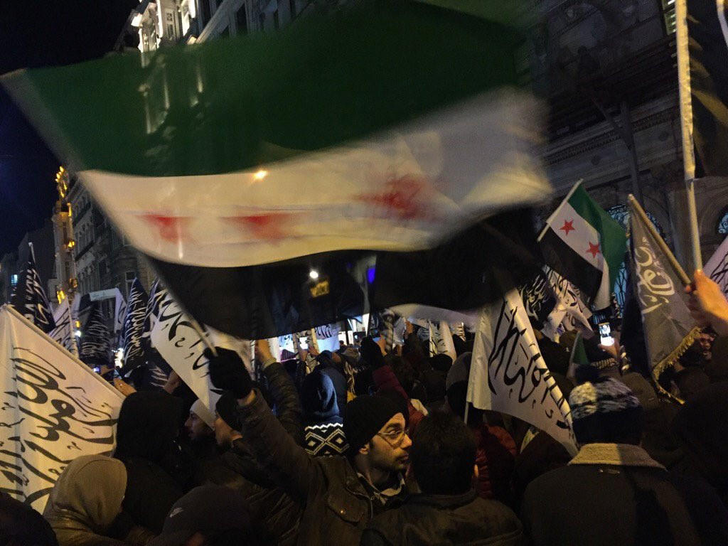 """Activists"" Protesting At Russian Embassy in Turkey Hold Al-Qaeda Flags (Photos)"