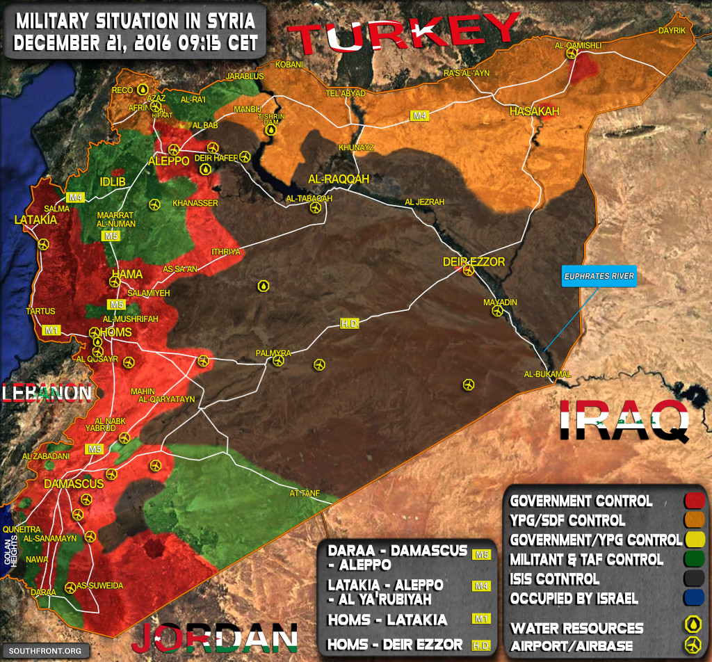 Military Situation In Syria On December 21, 2016 (Map Update)