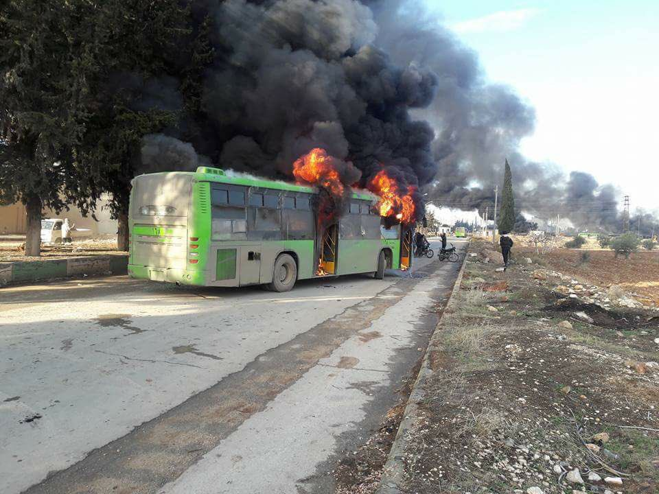 Syrian 'Rebels' Burn Buses En Route To Evacuate Sick & Injured Civilians From Govt-Held Villages In Idlib Province (Video, Photos)