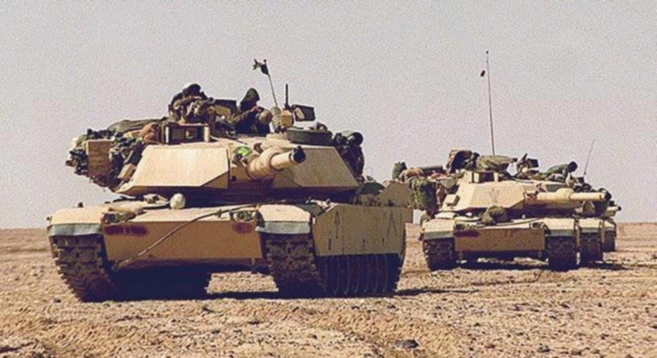 M1A2 Abrams MBTs deployed in the deserts of Saudi Arabia or Iraq, 1991.