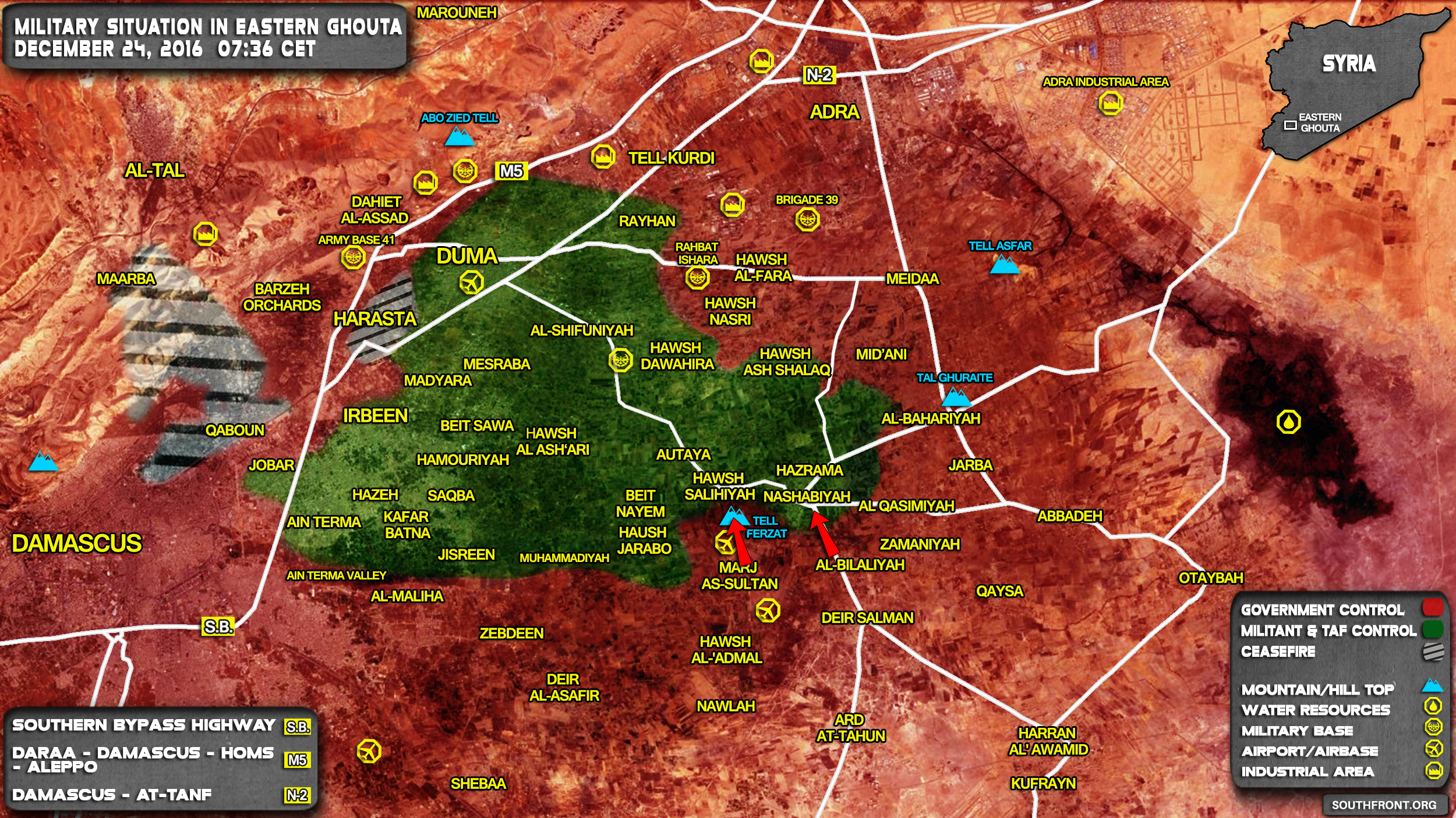 Military Situation In Eastern Ghouta On December 24 2016 Syria – Eastern Map
