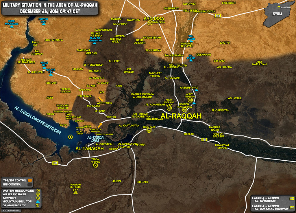 Military Situation In Area Of Al-Raqqah On December 26, 2016 (Syria Map Update)