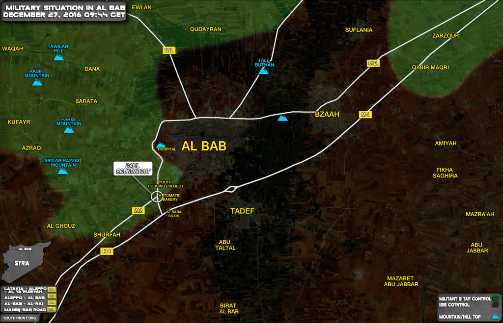 Military Situation In Al-Bab On December 27, 2016 (Syria Map Update)