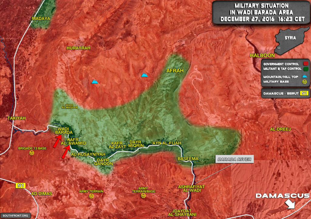 Military Situation In Wadi Barda Area Northwest Of Damascus (Syria Map Update)