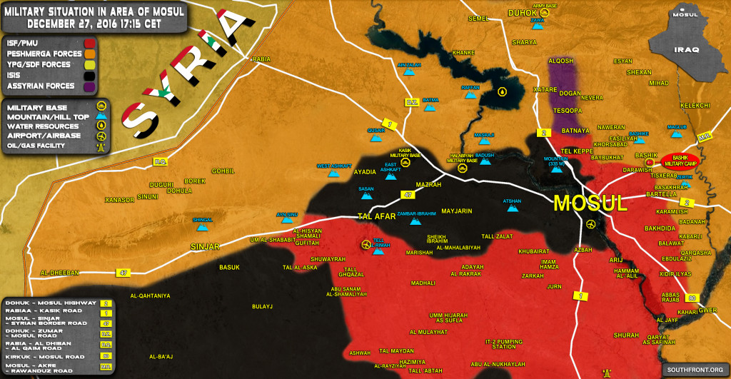 Military Situation In Area Of Mosul On December 27, 2016 (Iraq Map Update)