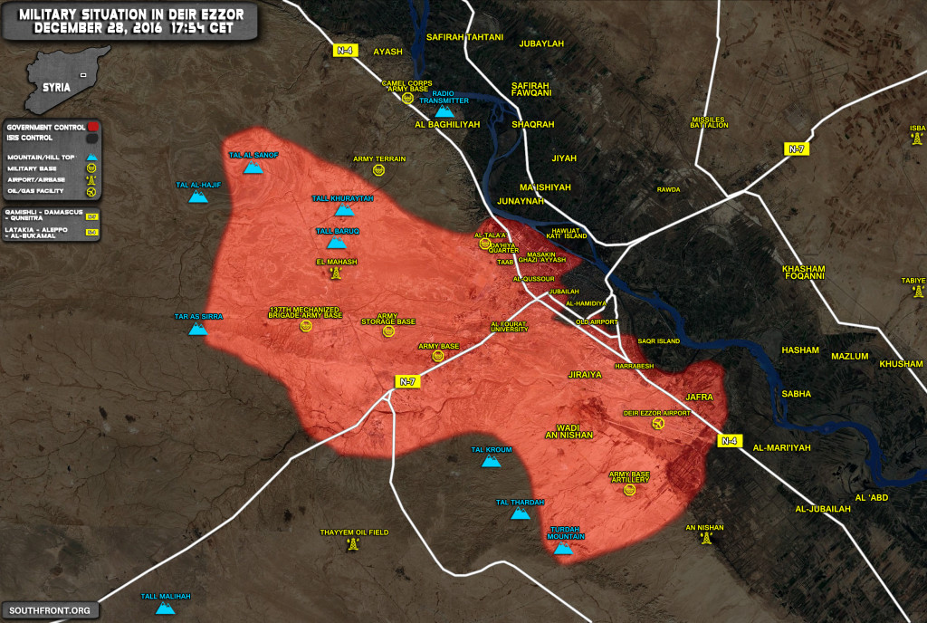 Military Situation In Deir Ezzor On December 28, 2016 (Syria Map Update)