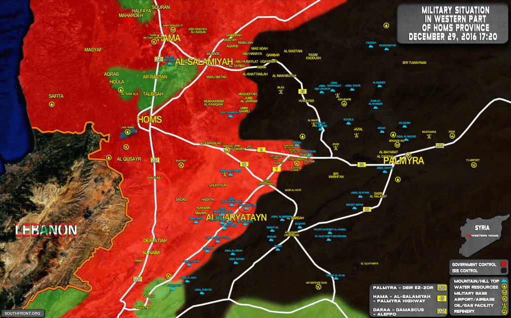 Syrian Army Secures Important Hilltop At Al-Qaryatayn-Tyas Road. Intense Fighting Ongoing