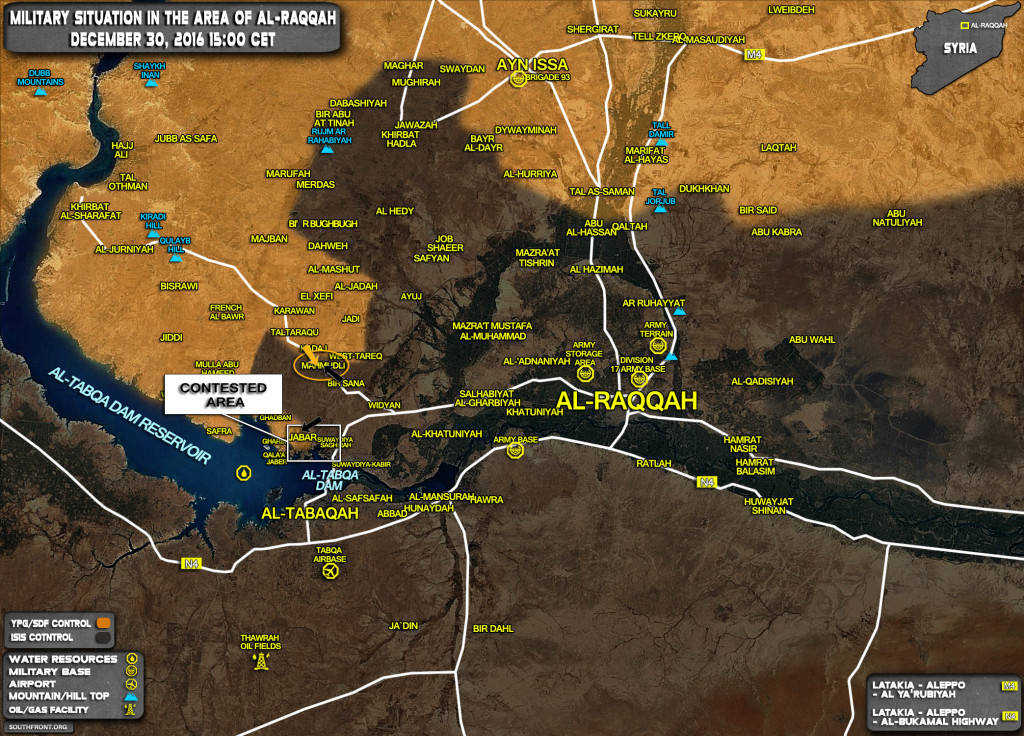 Military Situation In Area Of Al-Raqqah On December 30, 2016