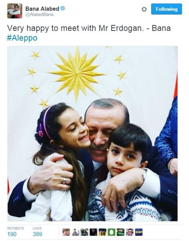 "Erdogan Meets With ""7yo Girl Blogger"" Exploited By Militants To Spread Propaganda From Aleppo"