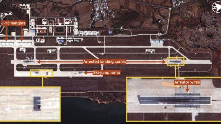 The Huangdicun Airbase. There are two sets of ski-jump ramps and two arrested landing areas.