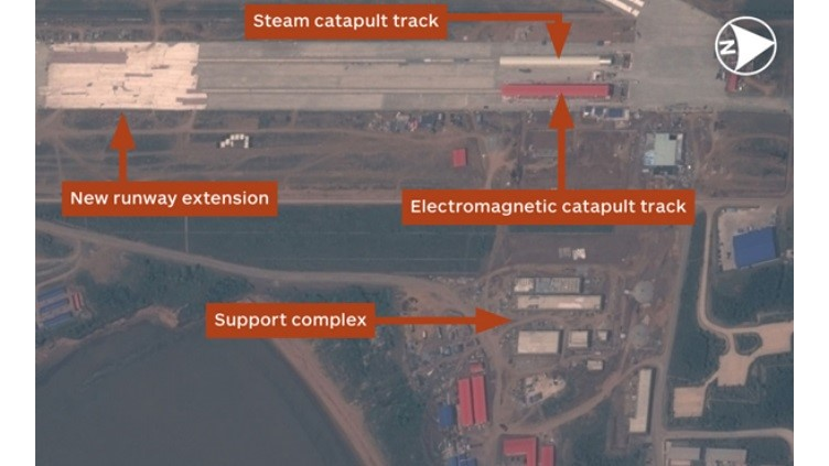 The construction on the northeastern corner of the Huangdicun Airbase suggests two catapult launch systems. Although they appear slightly different from above, it is impossible to confirm if they are of the convention steam driven design, or if one is an electro-magnetic catapult, as suggested by a number of analysts.