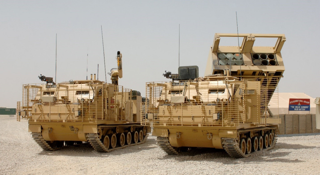 M270B1 MLRS and support vehicle. This is the British Army version with improved armor protection.