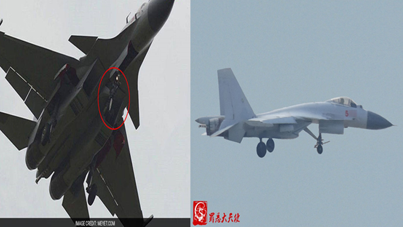 The launch bar can clearly be seen attached to the nose landing gear of both aircraft. The arrestor hook, used in arrested recovery can also be clearly viewed on both aircraft, though more clearly on the aircraft on the left.