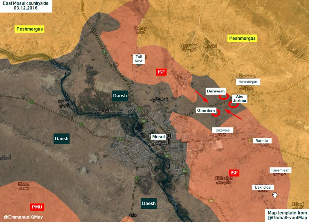 Iraqi Forces Purged ISIS from 3 Villages East of Mosul