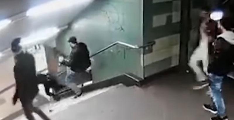 Shock Video: Migrants Kick German Girl Down Stairs in Berlin Subway