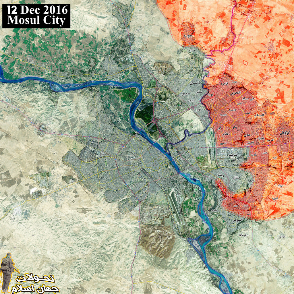 Iraq Map Update: Military Situation Inside Mosul On December 12, 2016