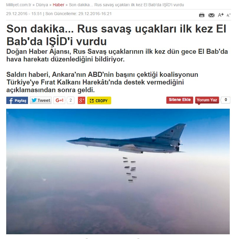 Russian Warplanes Provide Air Support To Turkish Forces Near Al-Bab - Turkish Media