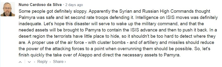 SF's Audience About The Fall Of Palmyra To ISIS
