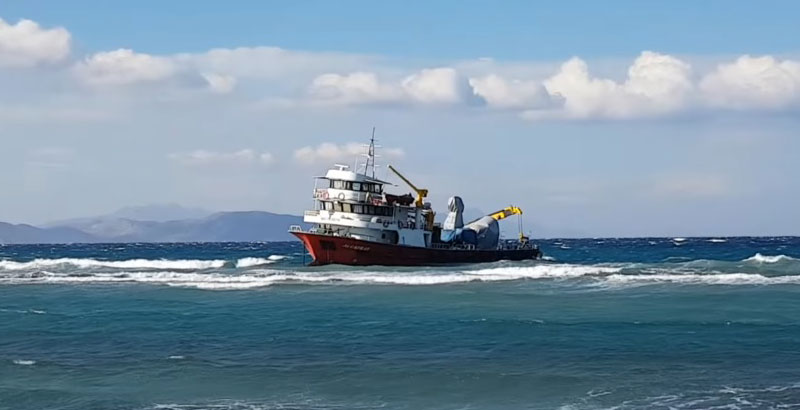 Turkish Vessel Carrying Anti-Air Gun Prototype Stranded near Greek Island (Photo & Video)