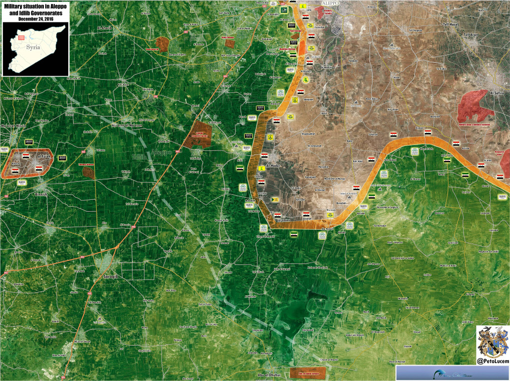 Military Situation In Aleppo-Idlib Countryside On December 24, 2016 (Syria Map Update)