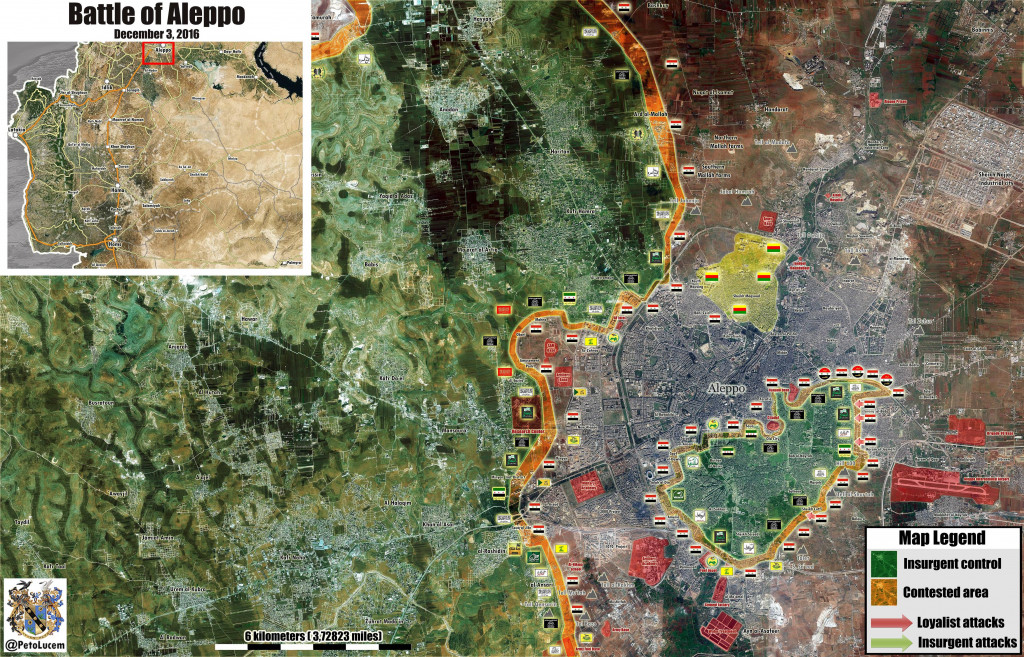 Overview of Military Situation in Aleppo City on December 4, 2016
