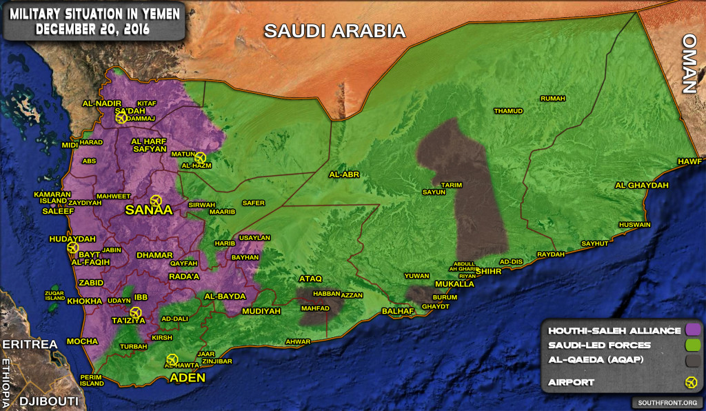 Military Situation In Yemen On December 20, 2016 (Map Update)