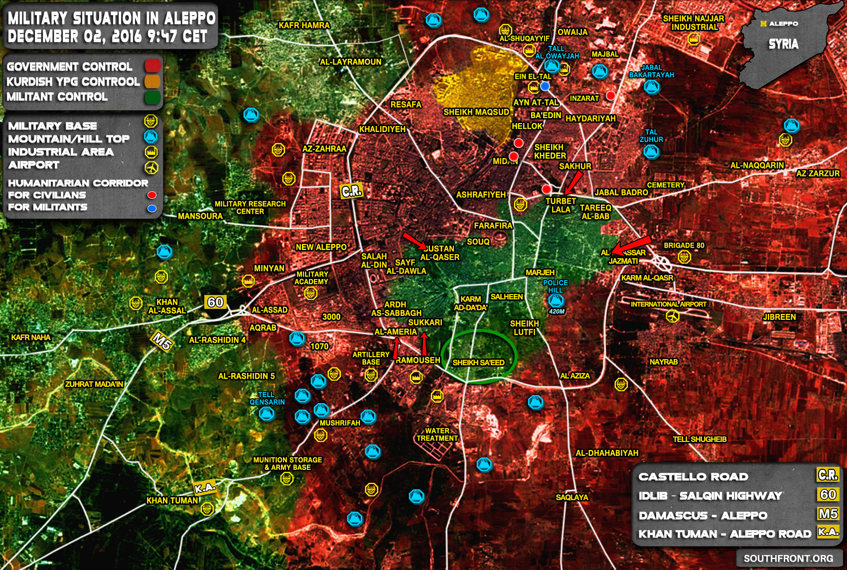 Military Situation in Aleppo City on December 2, 2016