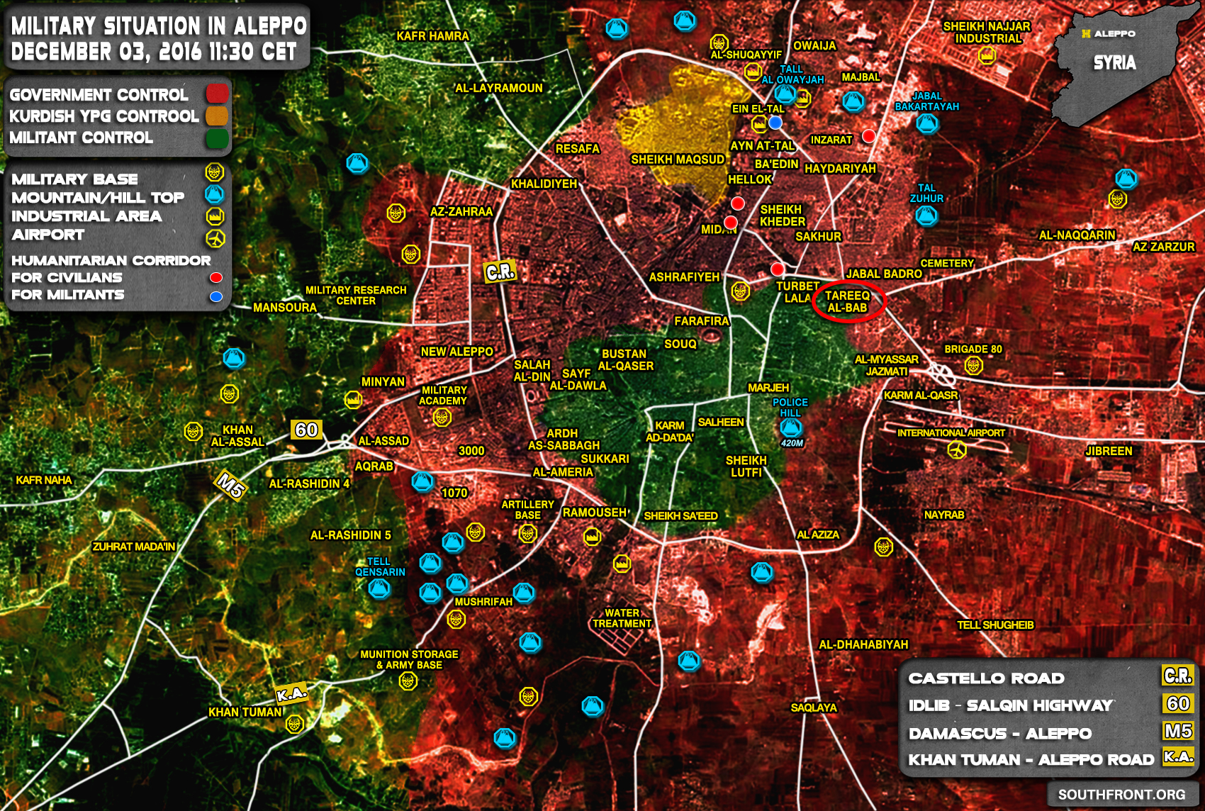 Syrian Army Sets Full Control over Tareeq al-Bab District of Aleppo City
