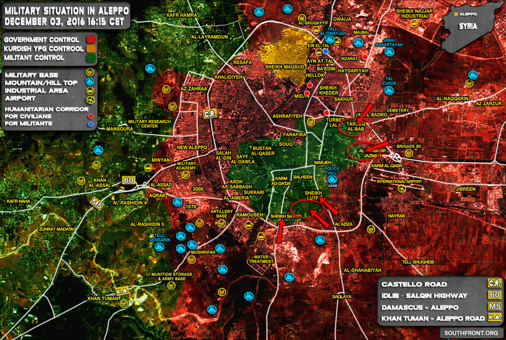 Militants Retreat at Multiple Frontlines as Government Forces Advance in Aleppo City