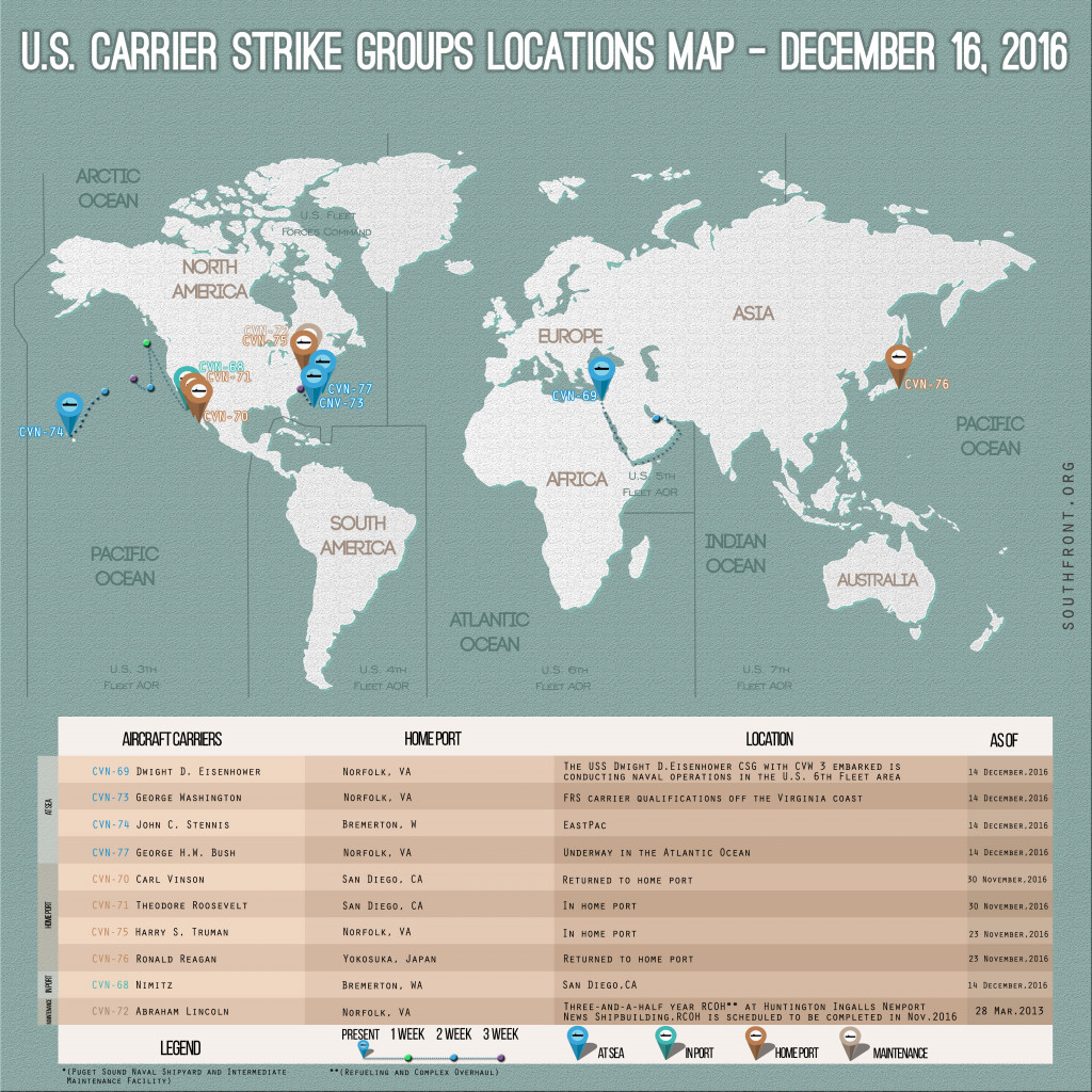 US Carrier Strike Groups Locations Map – December 16, 2016