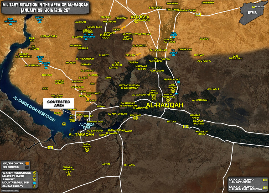 Military Situation In Area Of Raqqah On January 5, 2017 (Syria Map Update)