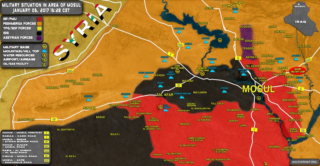Military Situation In Area Of Mosul On January 5, 2017 (Iraqi Map Update)