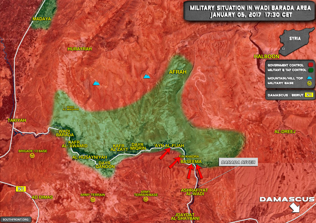 Militants To Surrender Wadi Barada Area To Government Forces According To Signed Ceasefire Agreement