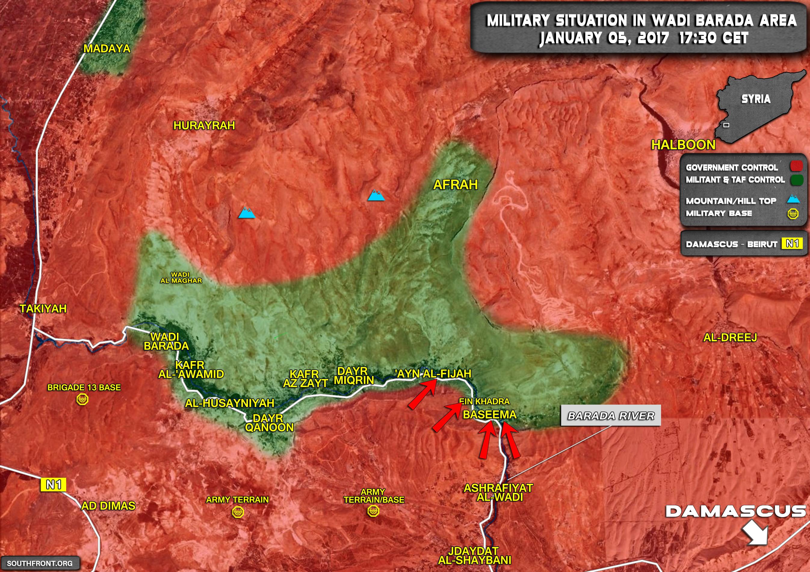 55 Terrorists Killed In Fighting In Wadi Barada Area Near Damascus ...