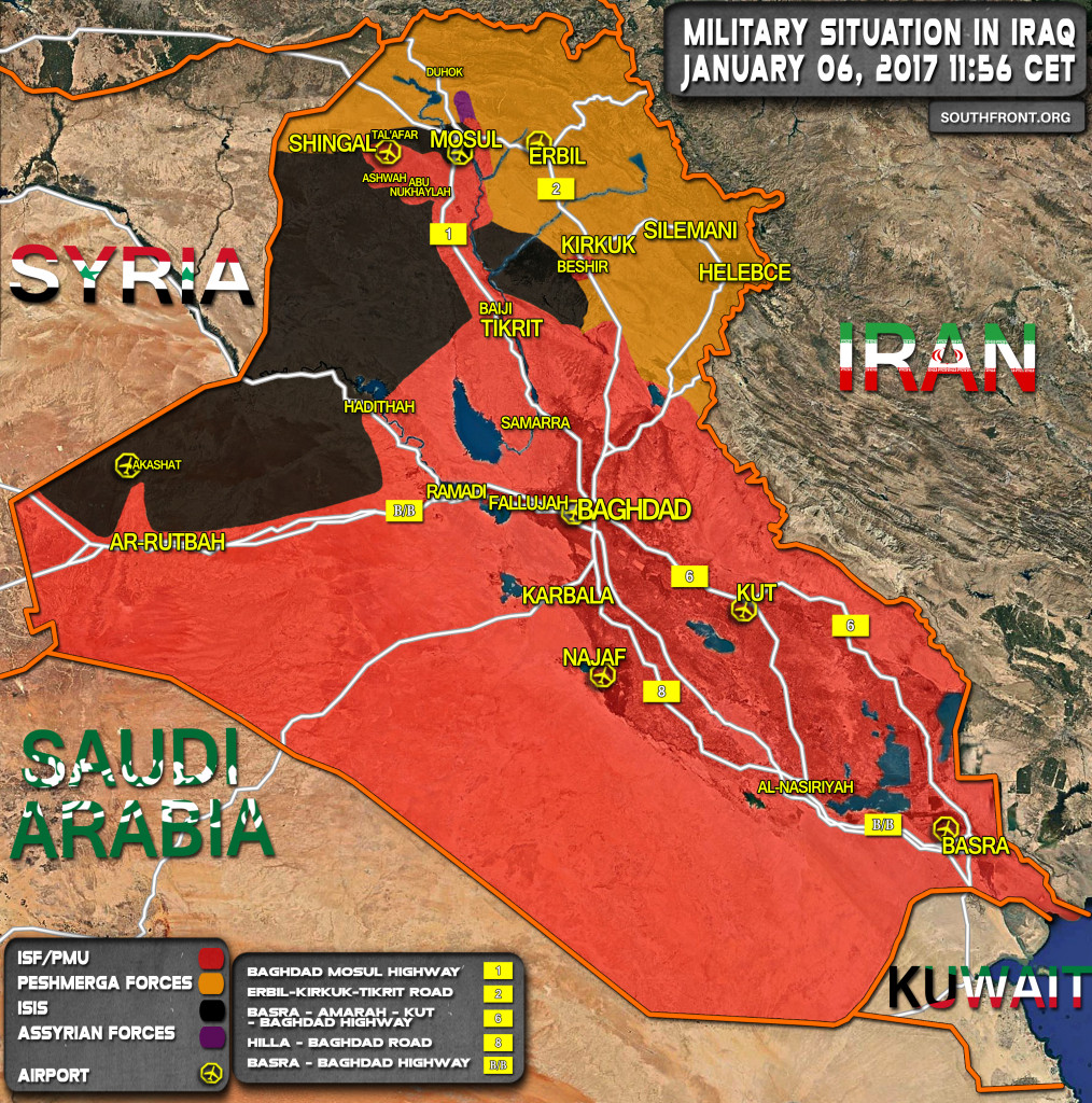 Military Situation In Iraq On January 6, 2017 (Map Update)