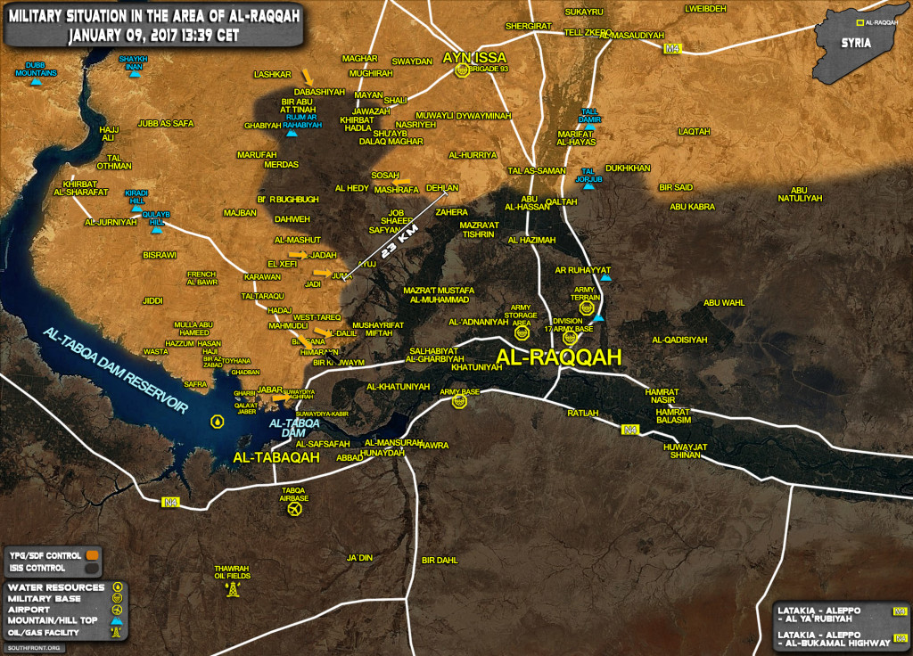Military Situation In Area Of Al-Raqqah On January 9, 2017 (Syria Map Update)