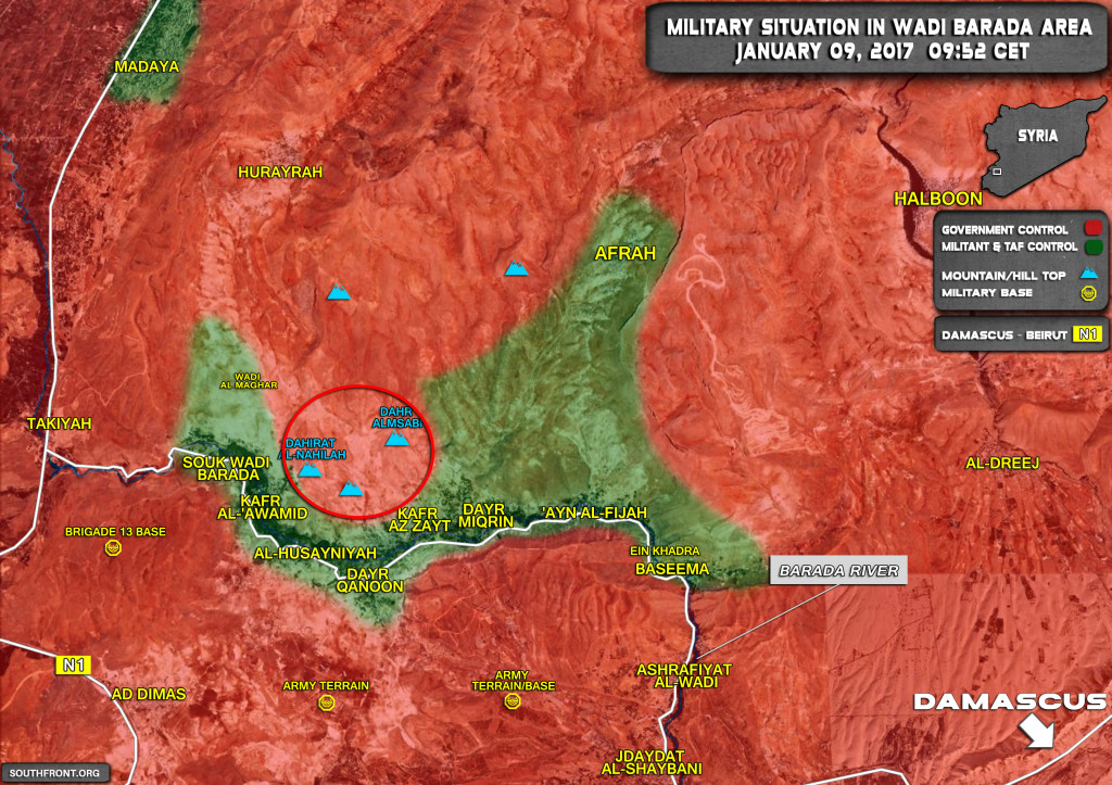Syrian Army Gaining More Ground In Wada Barada (Map Update)