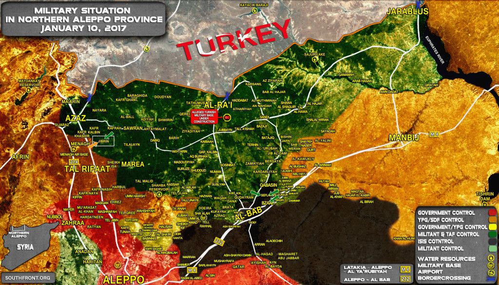 Military Situation In Northern Aleppo On January 10, 2017 (Syria Map Update)