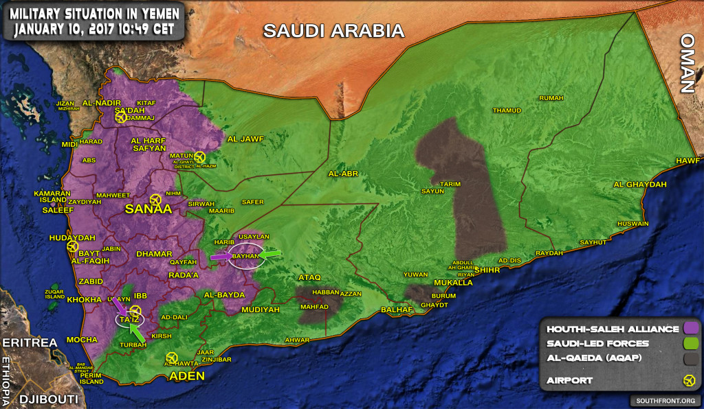 Military Situation In Yemen On January 10, 2017 (Map Update)