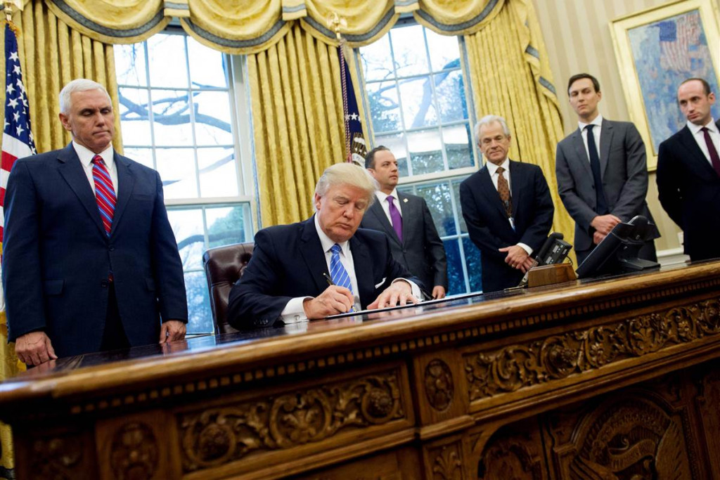 Trump Signs 3 Executive Orders: Withdraws From TPP, Freezes Federal Hiring, Limits Overseas Abortion Funding