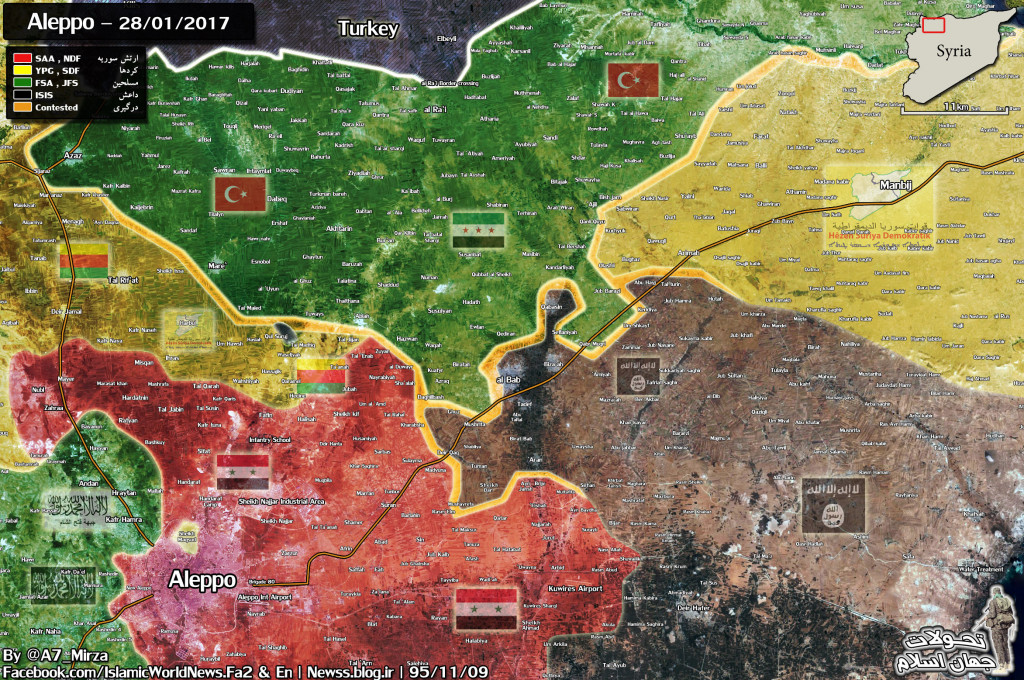 Military Situation In Northern Part Of Aleppo Province On January 28, 2017