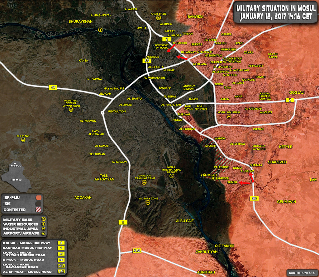 Military Situation In Iraqi City Of Mosul On January 12, 2017 (Map Update)