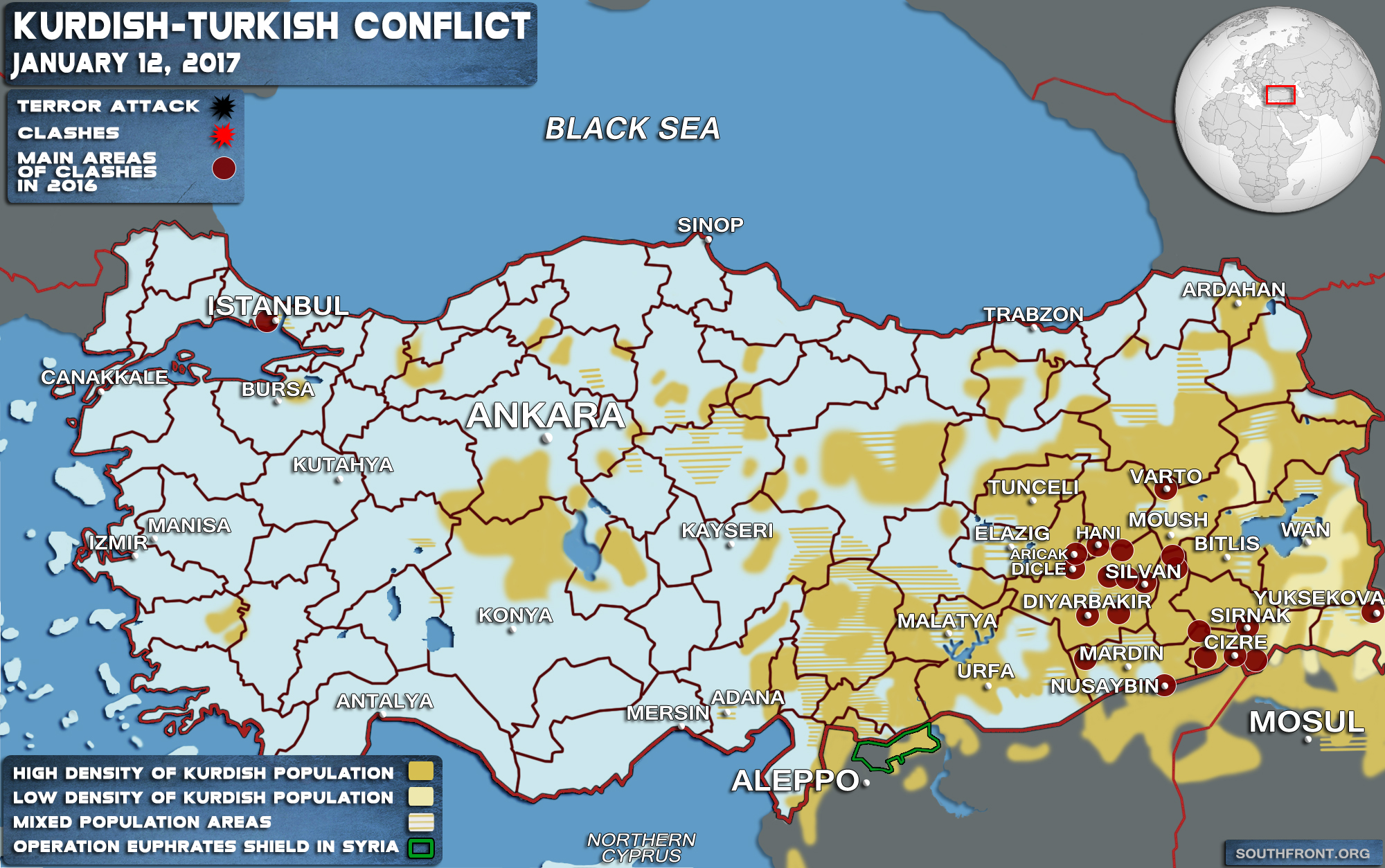 Kurdish Conflict Map Update - Turkey map