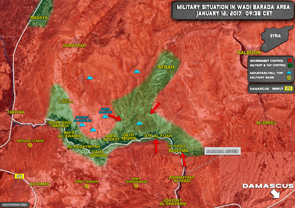 Military Situation In Wadi Barada Northwest Of Damascus On January 12, 2017 (Map Update)
