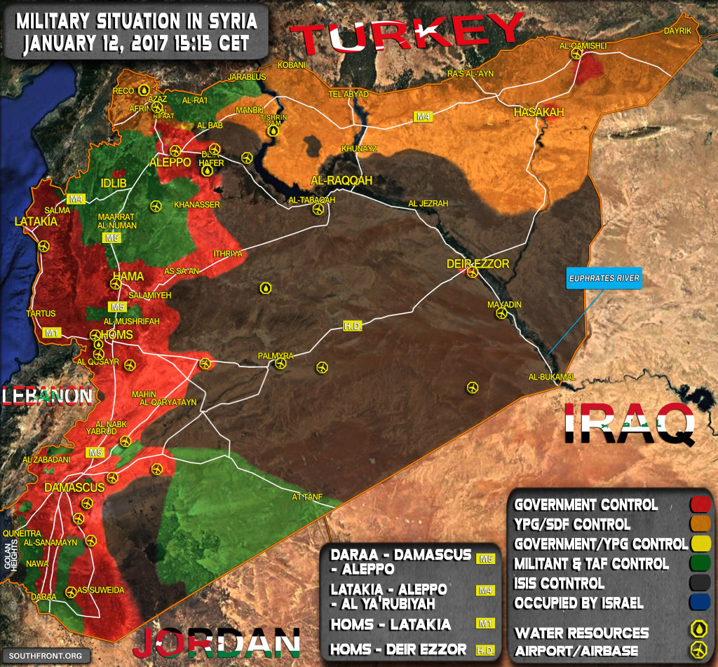 Military Situation In Syria On January 12, 2017 (Map Update)