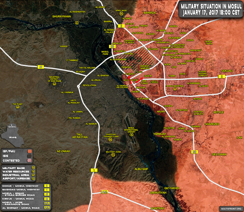 Military Situation In Mosul City On January 17, 2017 (Iraqi Map Update)