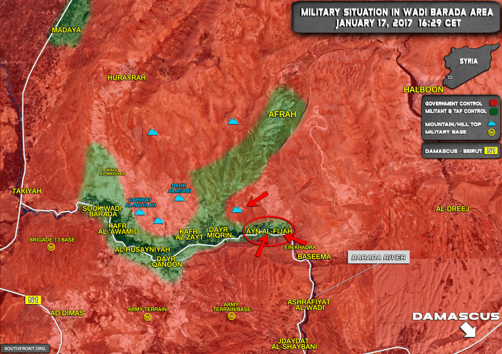 Syrian Army Sotrming Another Militant Stronghold In Wadi Barada Area