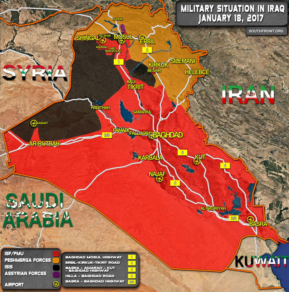 Military SItuation In Iraq On January 18, 2017 (Map Update)